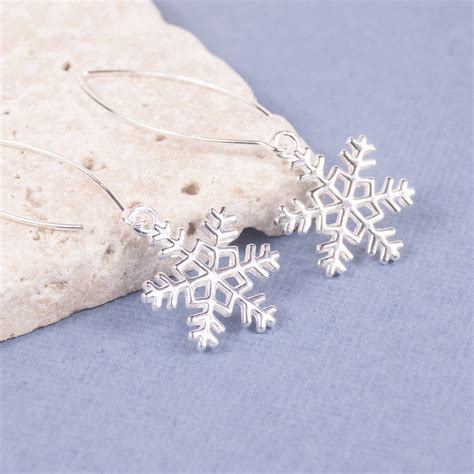 silver snowflake drop earrings by summer and silver
