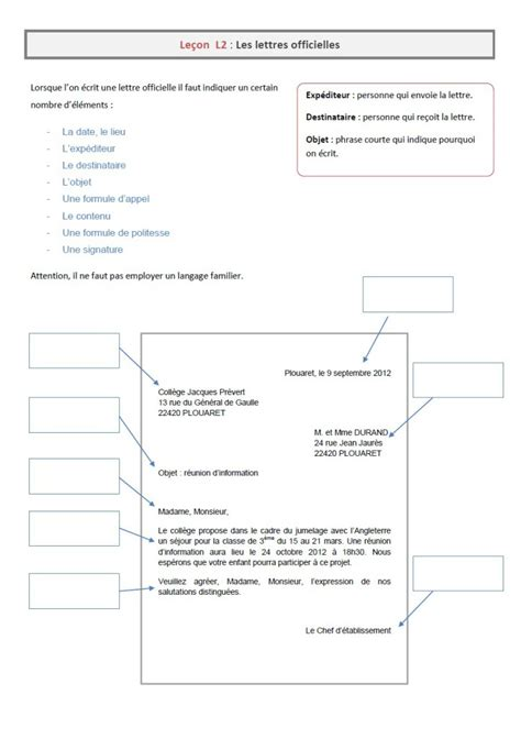 Exemple De Lettre Officielle 4eme Image Modele Lettre Cm2