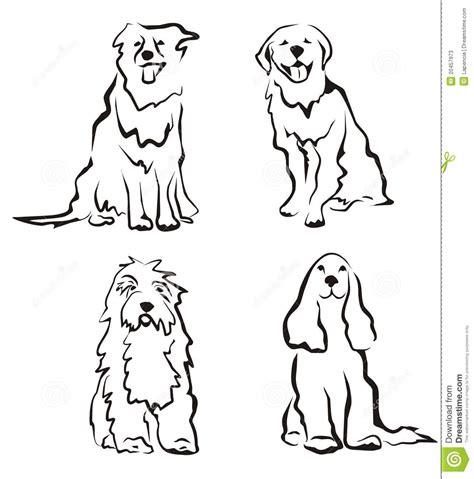 perros fijados de siluetas ilustraci 243 n del vector imagen