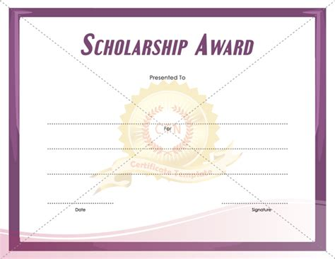 scholarship award certificate template free scholarship award certificate certificate template