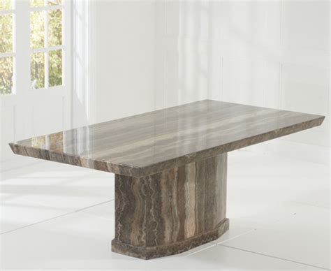 Brown Marble Dining Table Carvelle 200cm Brown Pedestal Marble Dining Table With Verbier Chairs The Great Furniture