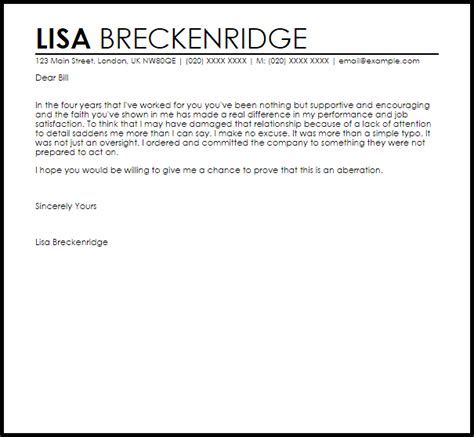 Apology Letter To For Missing Work Apology Letter For Mistake At Work Apology Letters Livecareer