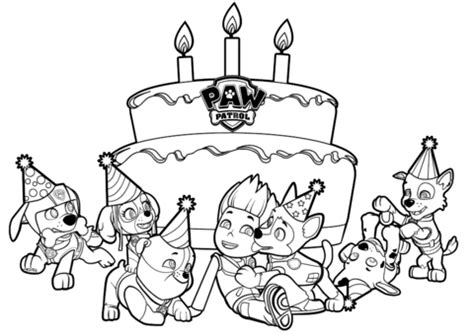 paw patrol happy birthday coloring page ryder s birthday coloring page free printable coloring pages