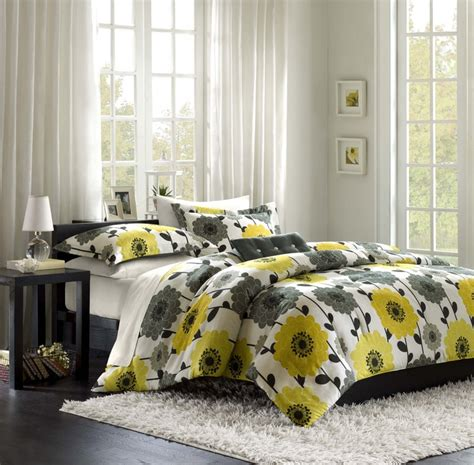 Grey And Yellow Bedding Sets Yellow And Gray Comforter Set Bedroom Color Ideas Gray And Yellow Pinterest
