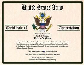army certificate of appreciation template certificate image gallery