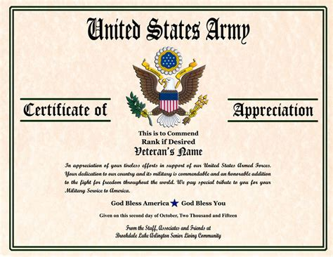 army certificate of appreciation template certificate image gallery