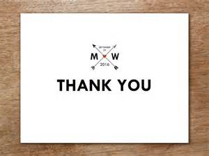 Thank You Place Cards Template by Thank You Card Template Monogram Arrows