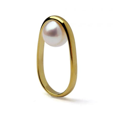 overturn 14k gold pearl ring gold pearl engagement ring