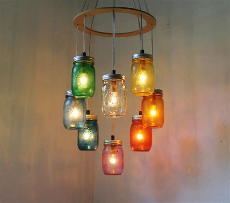 Sustainable Lighting Fixtures Rainbow Shaped Jar Chandelier Rustic Hanging