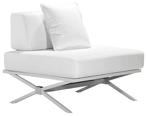 Modern White Lounge Chair by Zuo Modern Xert Modular White Lounge Chair Contemporary
