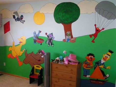 sesame wall mural sesame bedroom this is my daughters sesame bedroom i painted for so now