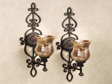 Wrought Iron Candle Wall Sconces Metal Wall Sconces Mosaic Candle Wall Sconces Large Wrought Iron Wall Sconces Interior Designs