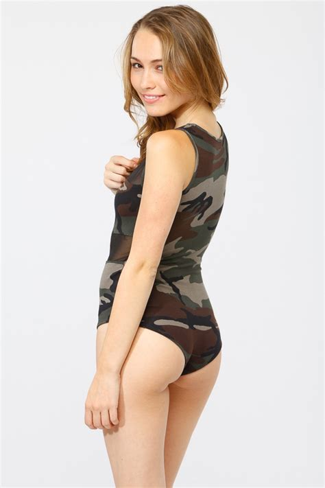 Mesh Inset Camouflage Body Suit @ Cicihot Top Shirt