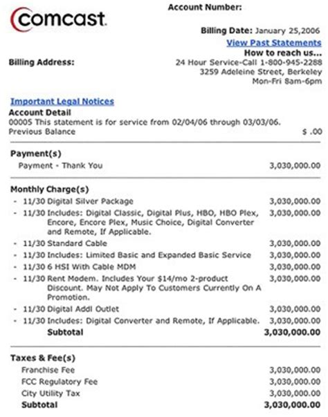 Cable Bill Template Bing Images Cable Bill Template