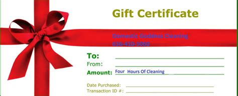 Gift Certificates For Home Cleaning By Domestic Goddess Cleaning House Cleaning Gift Certificate Template