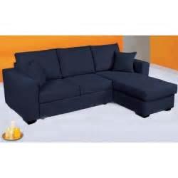 canap 233 d angle convertible en lit tissu bleu achat