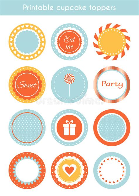 printable tags vector vector set of printable cupcake toppers labels stock