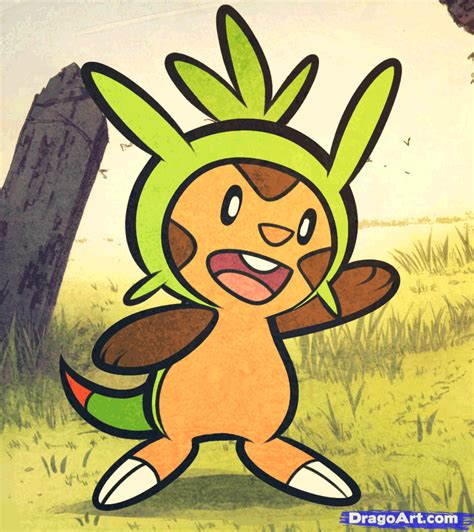 how to draw chespin pokemon x and y step by step