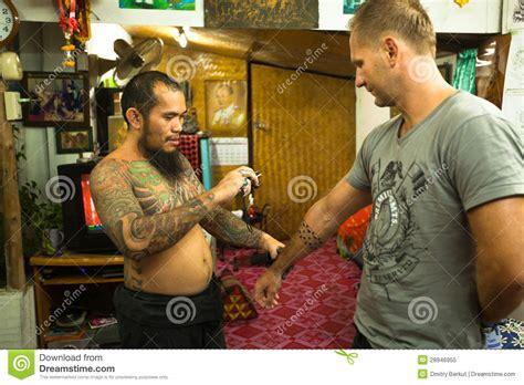 chang thailand jan 27 unidentified master makes master makes traditional tattoo bamboo editorial image