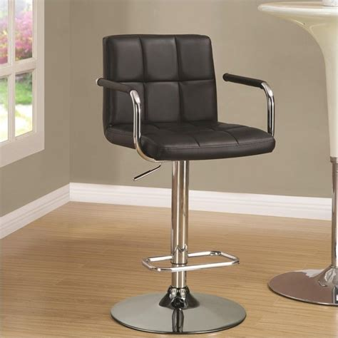 black and chrome kitchen bar stools coaster adjustable bar stool in black and chrome 121095