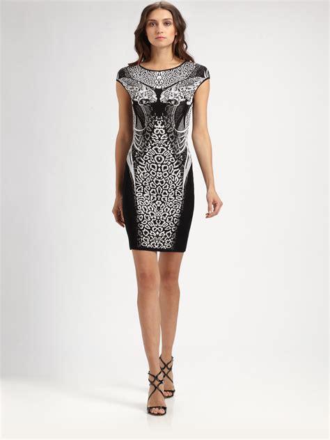 Cavali Dress lyst roberto cavalli animal print dress in black