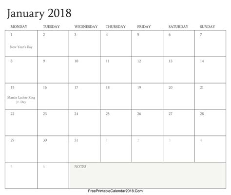 printable monthly calendar with holidays 2018 free printable calendar 2018