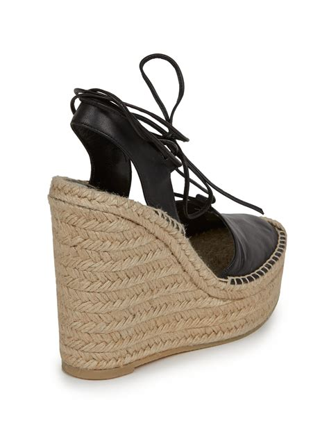 st wedges laurent leather espadrille wedge sandals in black lyst