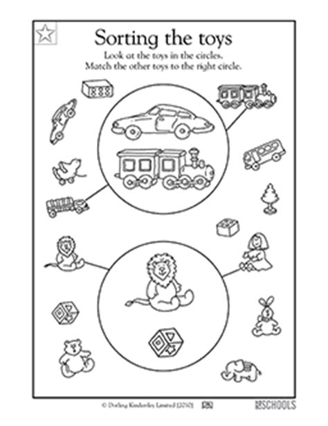 kindergarten preschool math worksheets sorting toys