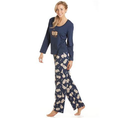 Piyama Cat Blue womens navy blue cat character nightwear pyjama set