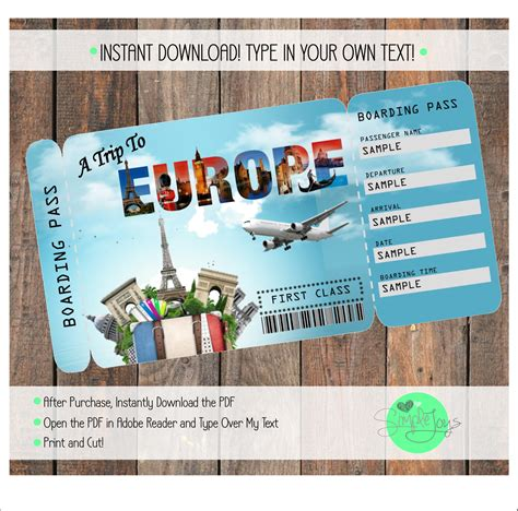 printable ticket  europe boarding pass customizable