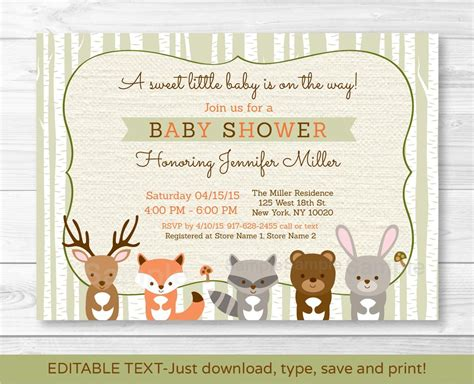 Create Easy Woodland Creatures Baby Shower Invitations Designs Invitations Templates Free Deere Invitation Template