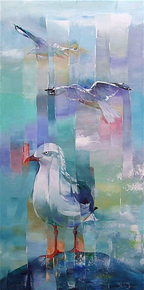spray painter new zealand brown contemporay abstract bird and landscape