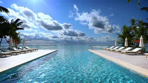 luxury hotel pool deck with tropical sea views photoreal