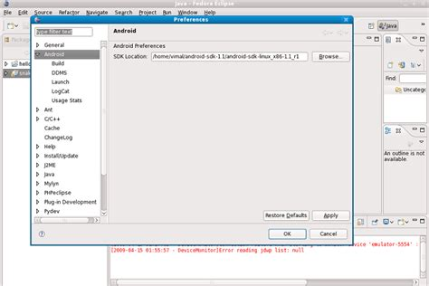 eclipse android android adt sdk and eclipse ide integration on linux