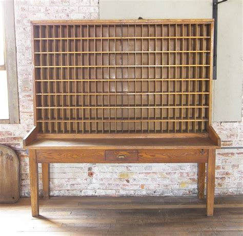 Antique Post Office Desk Antique Industrial Wood Postal Sorting Desk Storage Post Office Side Table At 1stdibs