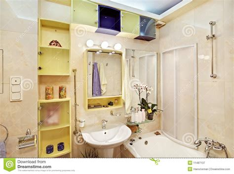 yellow and blue bathroom modern bathroom in yellow and blue royalty free stock