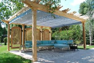 screened in pergola patio traditional with awning backyard