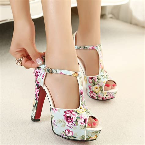 flower pattern heels summer shoes floral print ankle strap red bottom high
