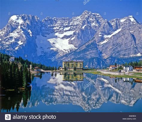 Tranquility by Lake Misurina And Snowy Mountains Cortina D Ampezzo Dolomites North Stock Photo Royalty Free