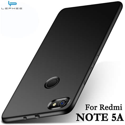 Slim Black Matte Xiaomi Note 5a lephee xiaomi redmi note 5a redmi note 5a pro cover matte tpu silicone soft back phone