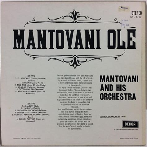 mantovani and his orchestra mantovani and his orchestra begagnat lp 229 r 1965
