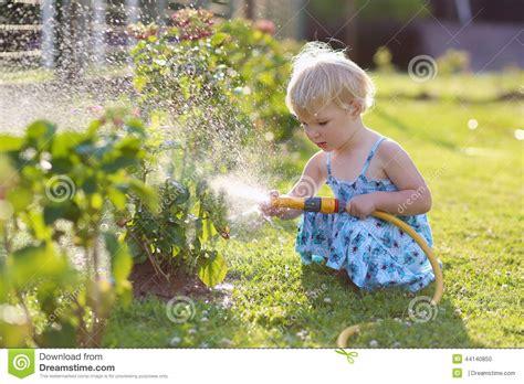 girl watering flowers little girl watering plants in the garden stock photo