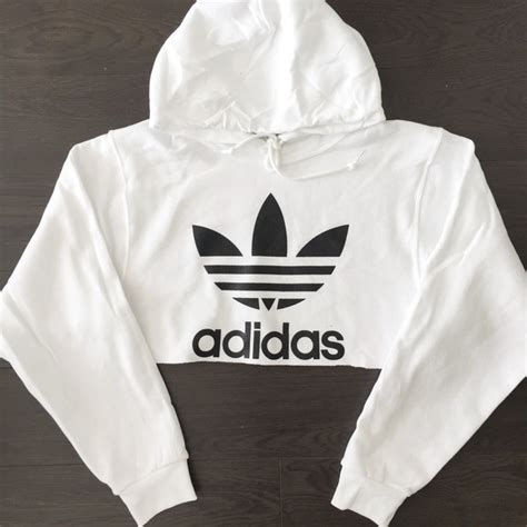 Cut Out Sleeve Crop Hoodie White S reworked adidas logo crop hoody white 48 liked on