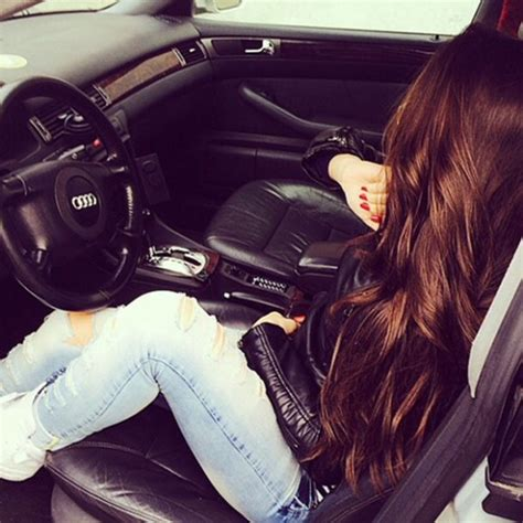 Hanging Without Nails stylish cute cool and smart girl dp pics with car
