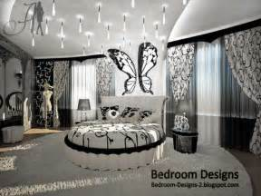 Black and white master bedroom design idea whit round bed curtains