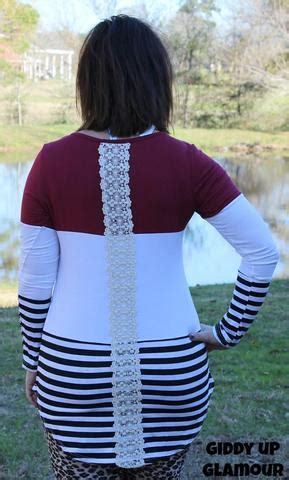 Middle Block Stripe Maroon tops plus size by giddy up boutique