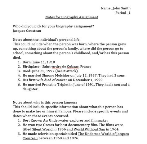 biography report template famous person biography report