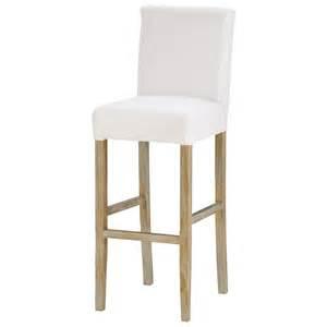 chaise de bar en tissu et bois massif blanche boston