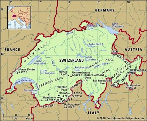 physical map of switzerland switzerland britannica