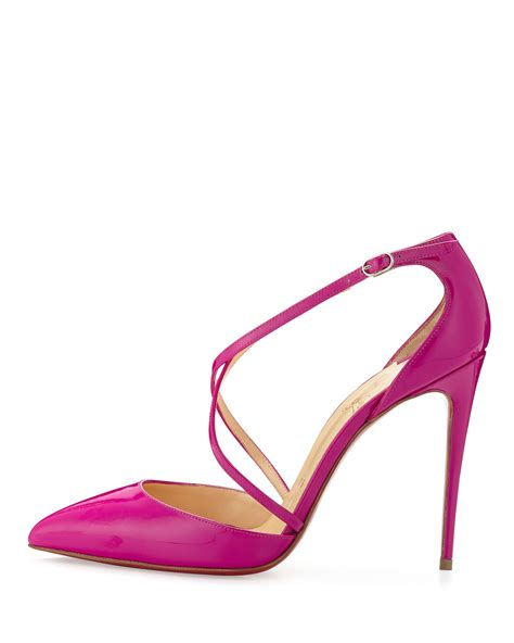 christian louboutin crossover patent leather pumps